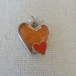 sterling silver heart pendant necklace red